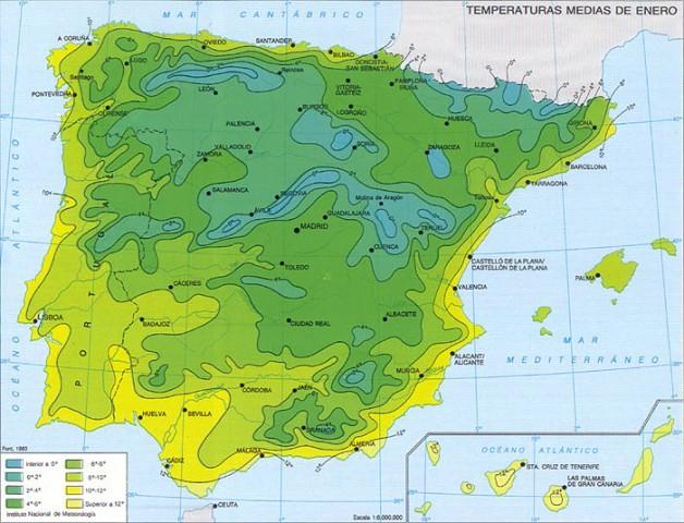 Temperaturas medias de Enero en España
