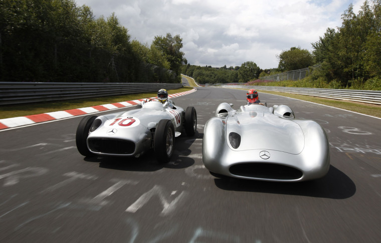 schumacher-rosberg-mercedes-1954 w196 and W196 Type Monza
